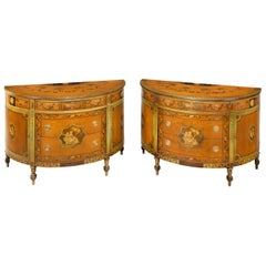 Good Pair of Early 20th Century Sheraton Revival Satinwood Commodes