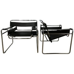 Good Pair of Vintage Black Leather and Chrome B-3 Wassily Chairs