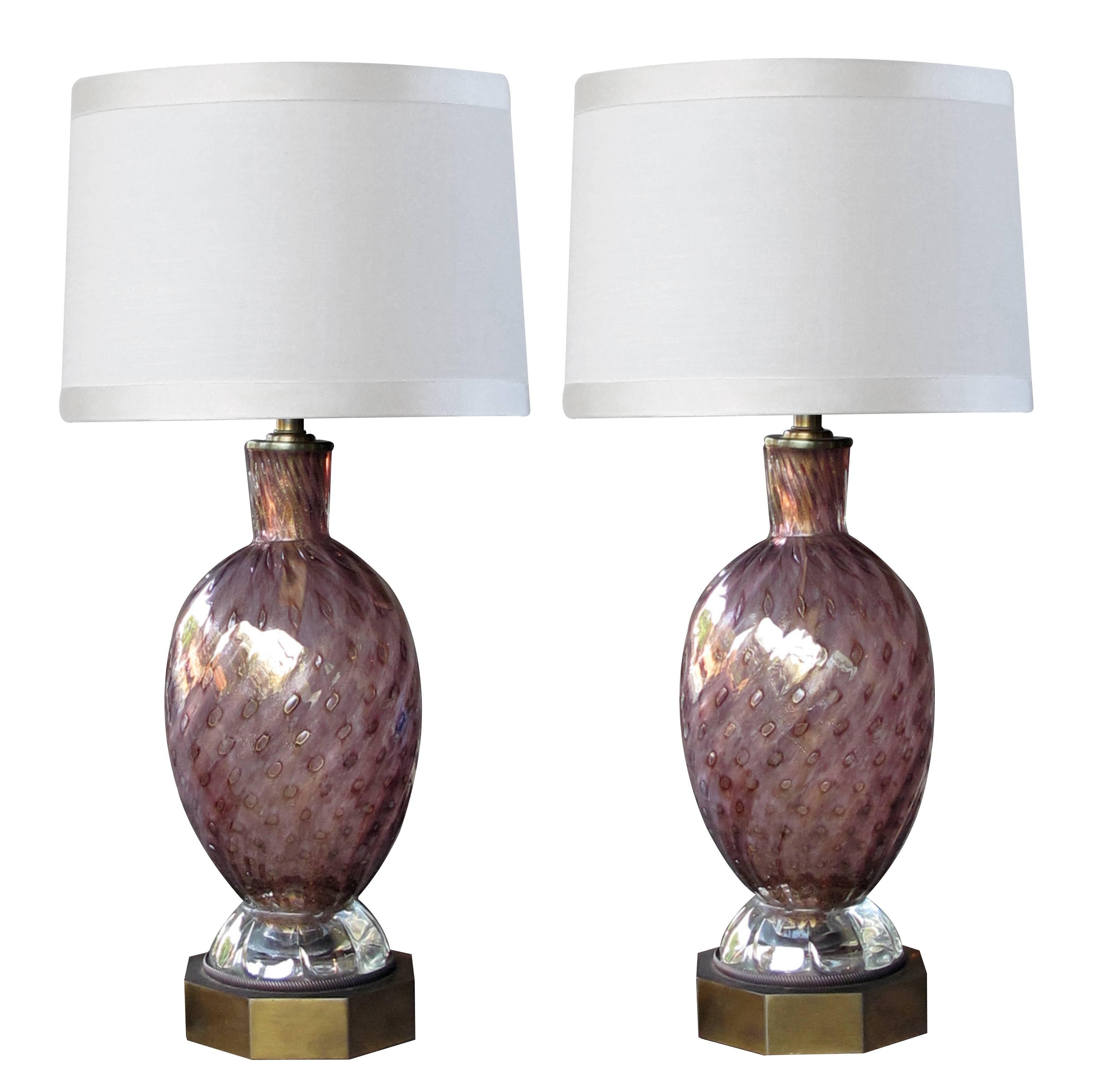 Good Quality Pair of Murano Seguso Midcentury Aubergine Glass Lamps