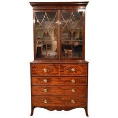 Good Regency Mahogany Secretaire Bookcase