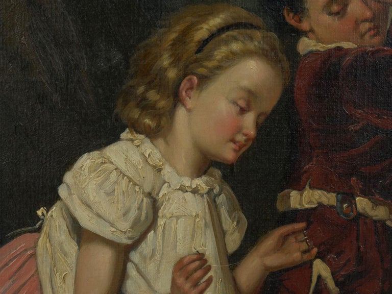 """A Good Sister"" Antique Oil Painting, British School, 19th Century For Sale 7"