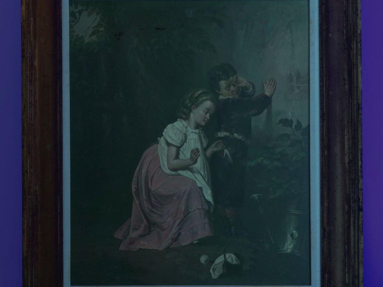 """A Good Sister"" Antique Oil Painting, British School, 19th Century For Sale 12"