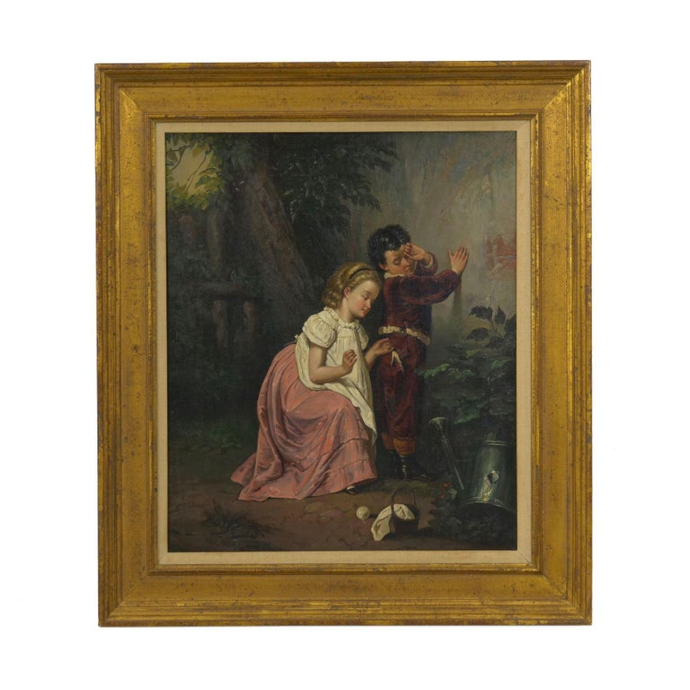 A charming little 19th century scene depicting an older sister taking care of her distressed younger brother, she kneels in her clean dress to get a good angle from which to sew his torn pants. The painting is unsigned and likely of British origin
