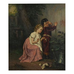 """""""A Good Sister"""" Antique Oil Painting, British School, 19th Century"""