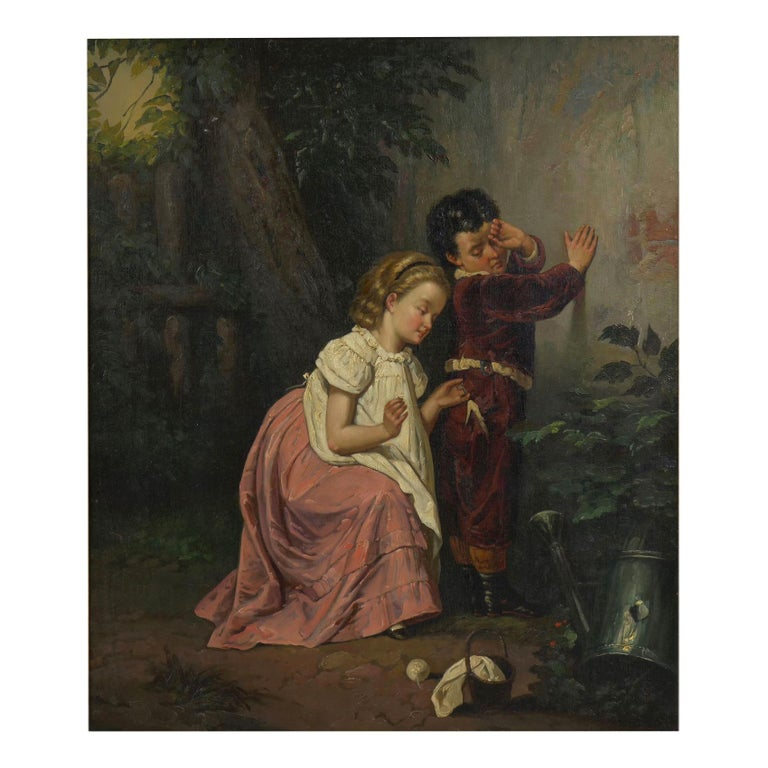 """A Good Sister"" Antique Oil Painting, British School, 19th Century For Sale"