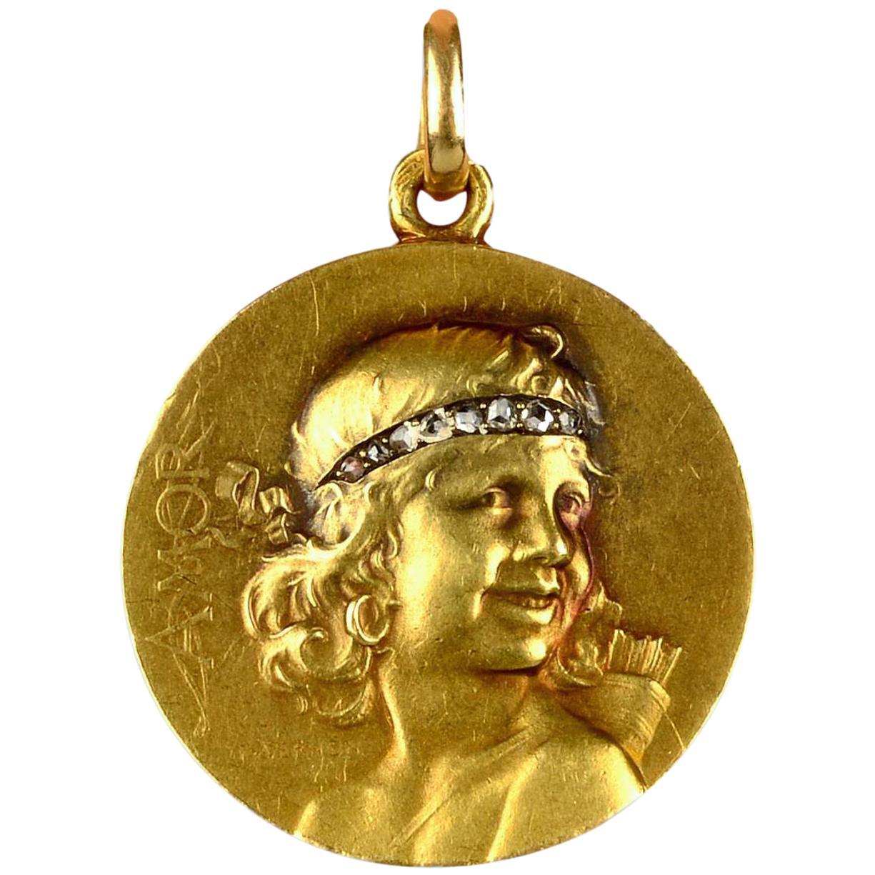 Gorgeous French Art Nouveau Gold Medallion Pendant