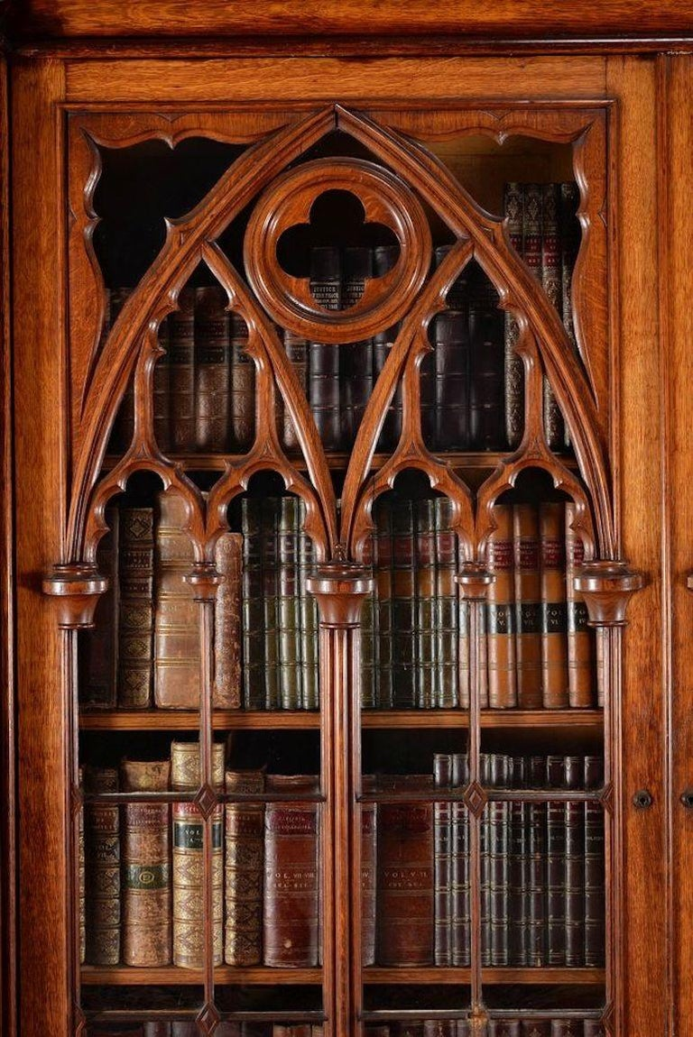 English Exceptional and Exquisite Gothic Revival Pugin Pollard Oak Cabinet Bookcase For Sale