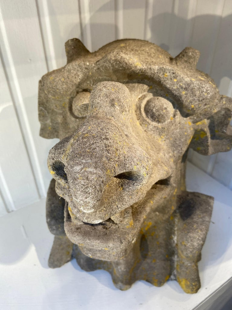 A Gothic Revival (19th century) monstrous gargouille in stone, France or England. Very expressive and possibly served as a water fountain.