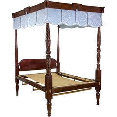 Grand Federal/Sheraton Mahogany Four-Poster Bed, Salem, Ma, circa 1820-1830