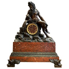 Grand French Gilt and Patinated Bronze Mantle Clock on a Marble Imperial Base