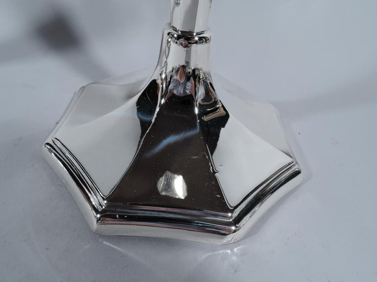 American Great Pair of Tall and Modern Sterling Silver Candlesticks For Sale
