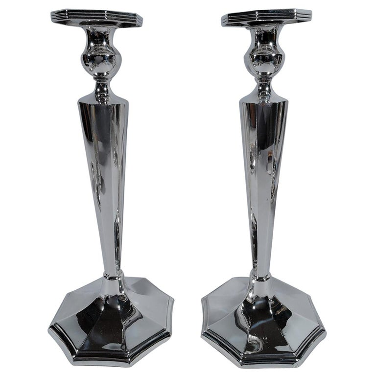 Great Pair of Tall and Modern Sterling Silver Candlesticks For Sale