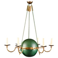 Green and Brass Empire Chandelier