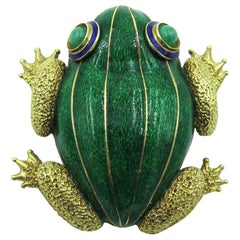 Green Enamel and Gold Frog Brooch
