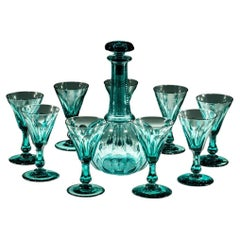 Green Globe Decanter with Nine Matching Glasses
