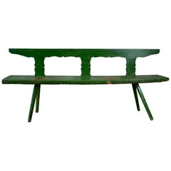 Original patina sculptural green Austrian chalet bench circa 19th century