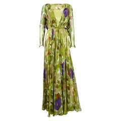 A Grès Evening Dress in Printed Muslin Circa 1975/1985