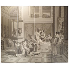 Grisaille Wallpaper Quadriptych Depicting The Bath of Psyche