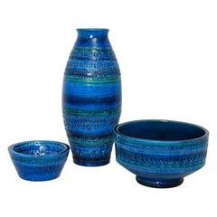 A Group of Aldo Londi for Bitossi Rimini Blue Glazed Ceramic Vase and Bowls