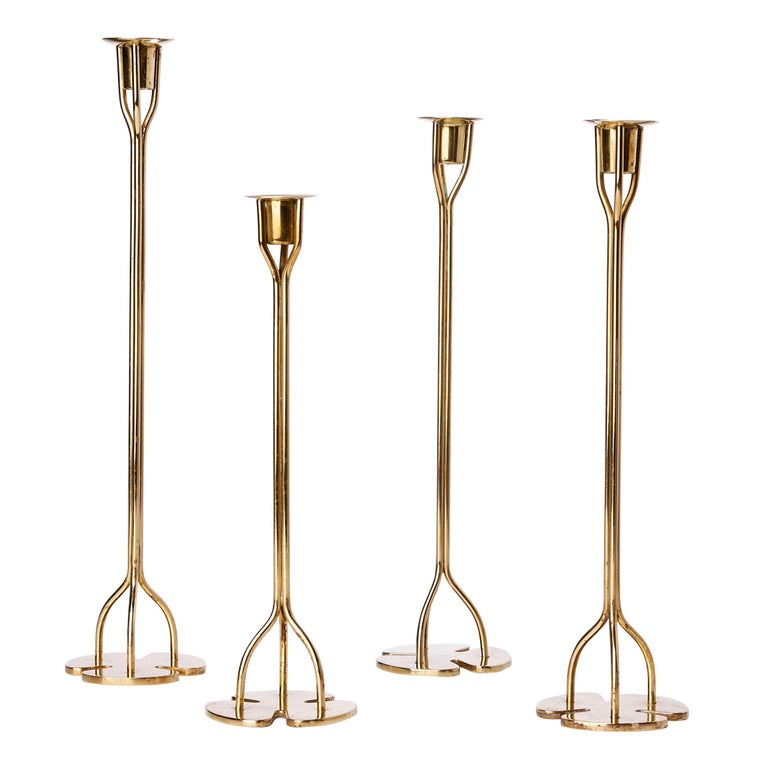 Group of Four Solid Brass Candlesticks by Josef Frank, 1940s For Sale