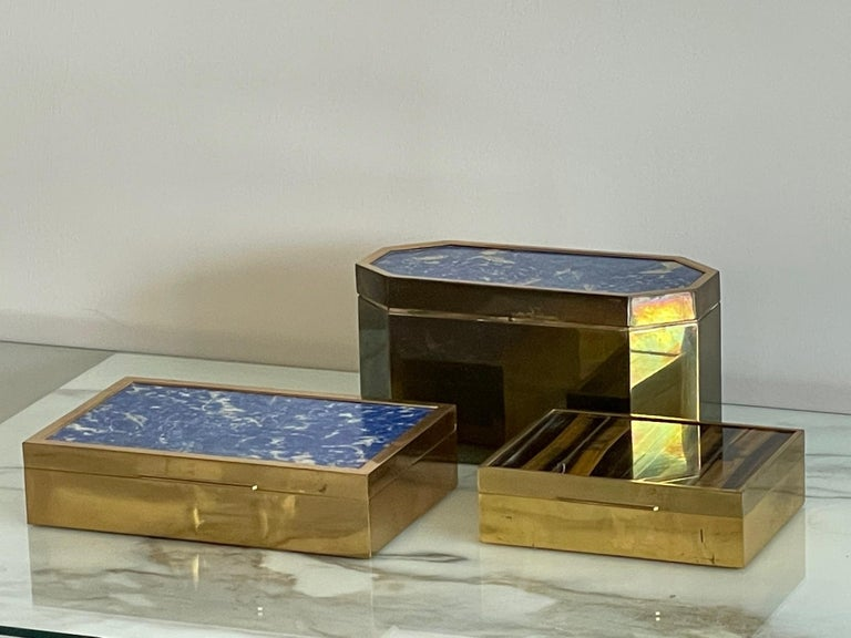 Group of Italian Boxes Lapis Lazuli and Tiger's Eye For Sale 5