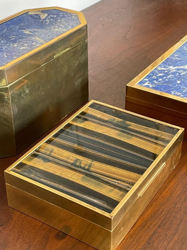 Group of Italian Boxes Lapis Lazuli and Tiger's Eye For Sale 7
