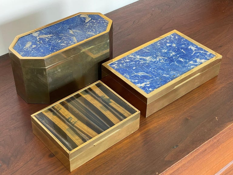 Group of Italian Boxes Lapis Lazuli and Tiger's Eye In Good Condition For Sale In St.Petersburg, FL