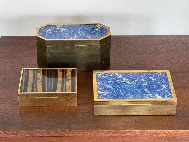 Late 20th Century Group of Italian Boxes Lapis Lazuli and Tiger's Eye For Sale