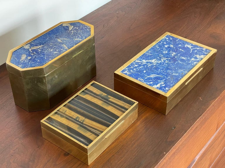Brass Group of Italian Boxes Lapis Lazuli and Tiger's Eye For Sale
