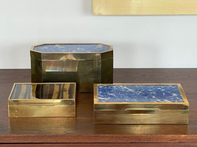Group of Italian Boxes Lapis Lazuli and Tiger's Eye For Sale 1