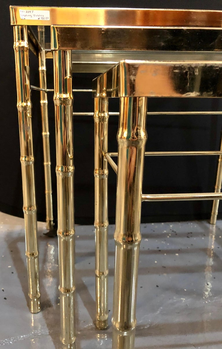 Group of Three Faux Bamboo Brass Nesting Tables with Glass Tops For Sale 6