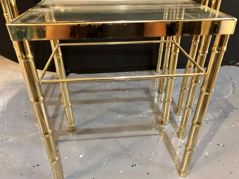 20th Century Group of Three Faux Bamboo Brass Nesting Tables with Glass Tops For Sale