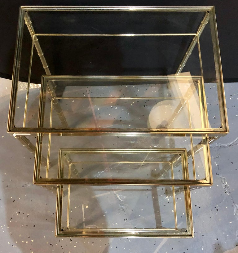 Group of Three Faux Bamboo Brass Nesting Tables with Glass Tops For Sale 1