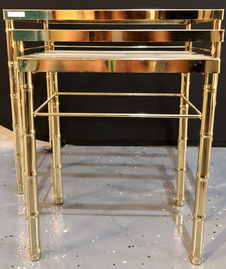 Group of Three Faux Bamboo Brass Nesting Tables with Glass Tops For Sale 2
