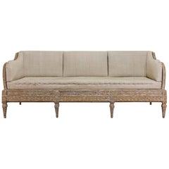 Gustavian Period Swedish Trågsoffa Sofa, Original Painted
