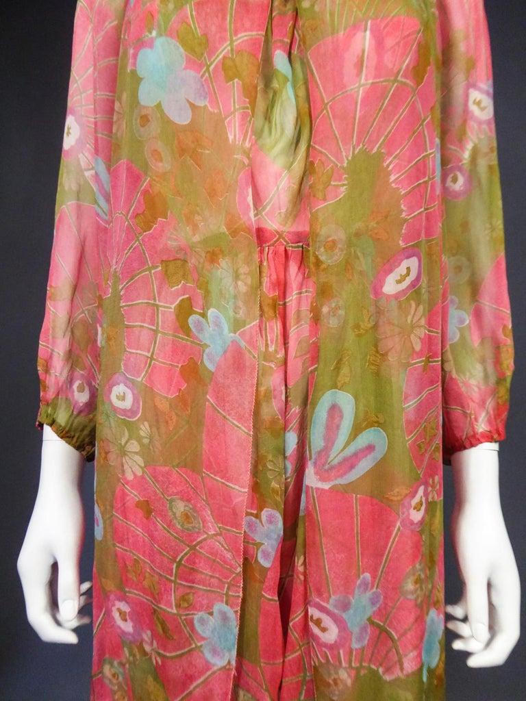 A Guy Laroche Set in Printed Silk Crepe Circa 1965 For Sale 5