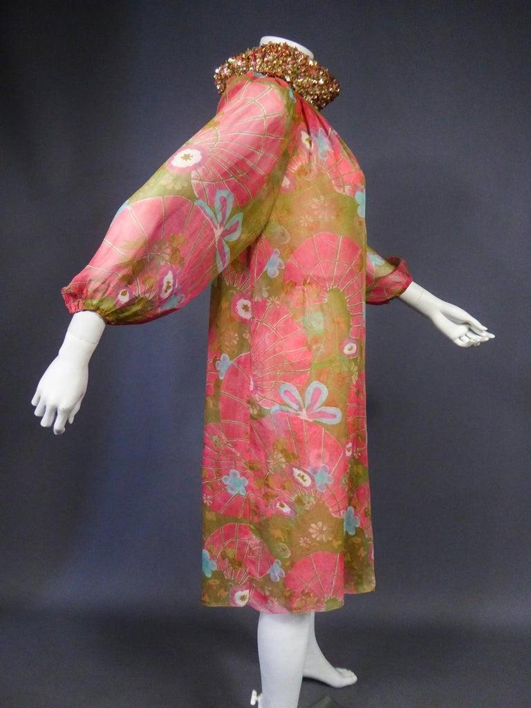 A Guy Laroche Set in Printed Silk Crepe Circa 1965 For Sale 9