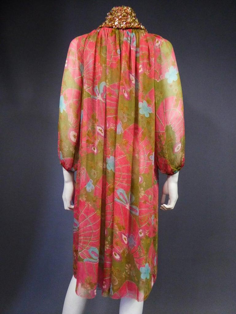 A Guy Laroche Set in Printed Silk Crepe Circa 1965 For Sale 10