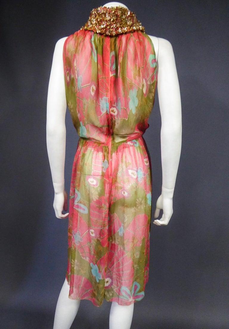 A Guy Laroche Set in Printed Silk Crepe Circa 1965 For Sale 14