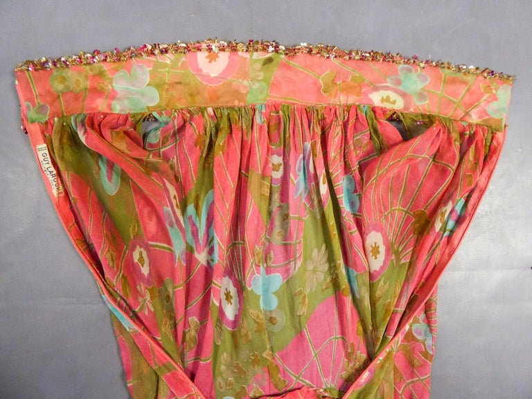 Pink A Guy Laroche Set in Printed Silk Crepe Circa 1965 For Sale