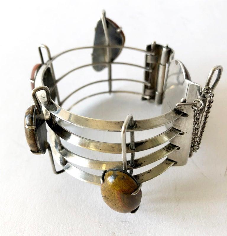 Modernist A + H Mackie Sterling Silver Natural Gemstone Bracelet For Sale