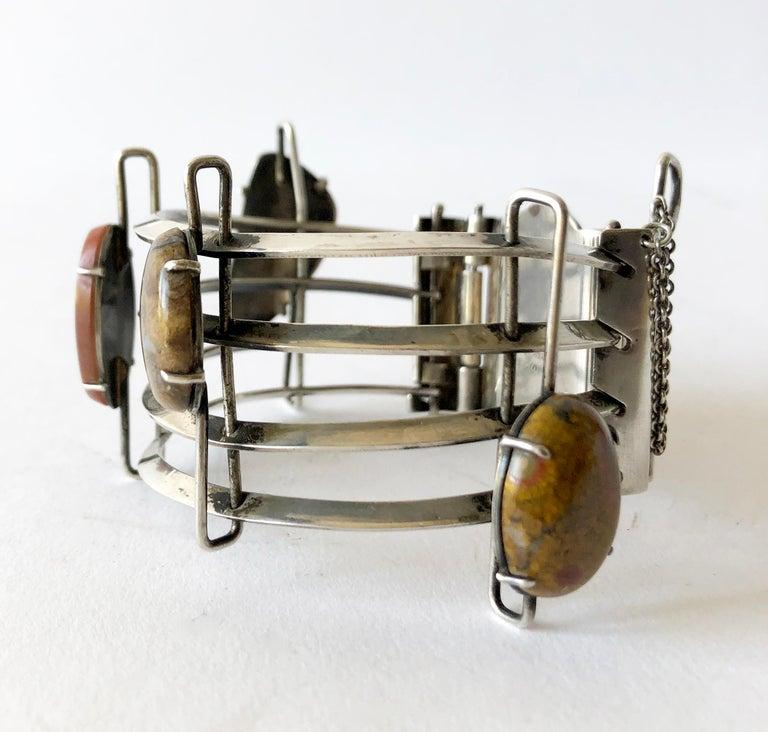 Cabochon A + H Mackie Sterling Silver Natural Gemstone Bracelet For Sale