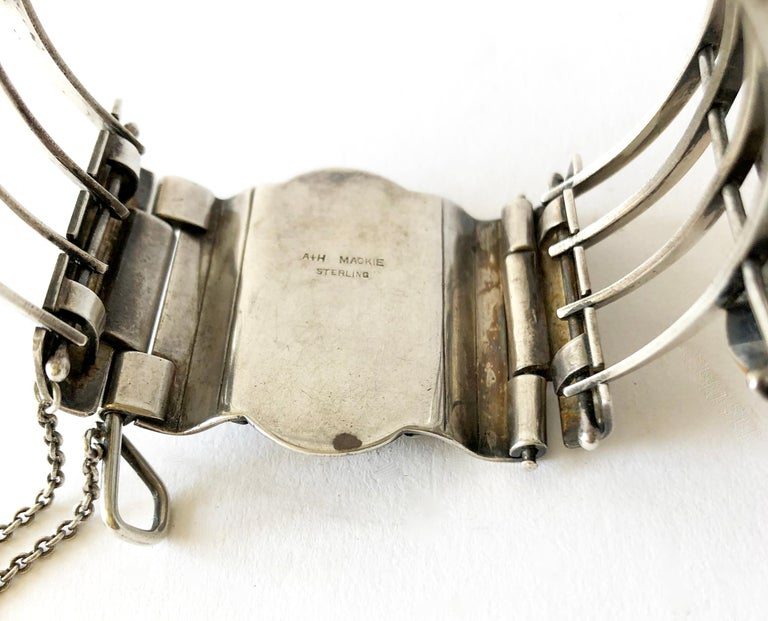 Women's A + H Mackie Sterling Silver Natural Gemstone Bracelet For Sale