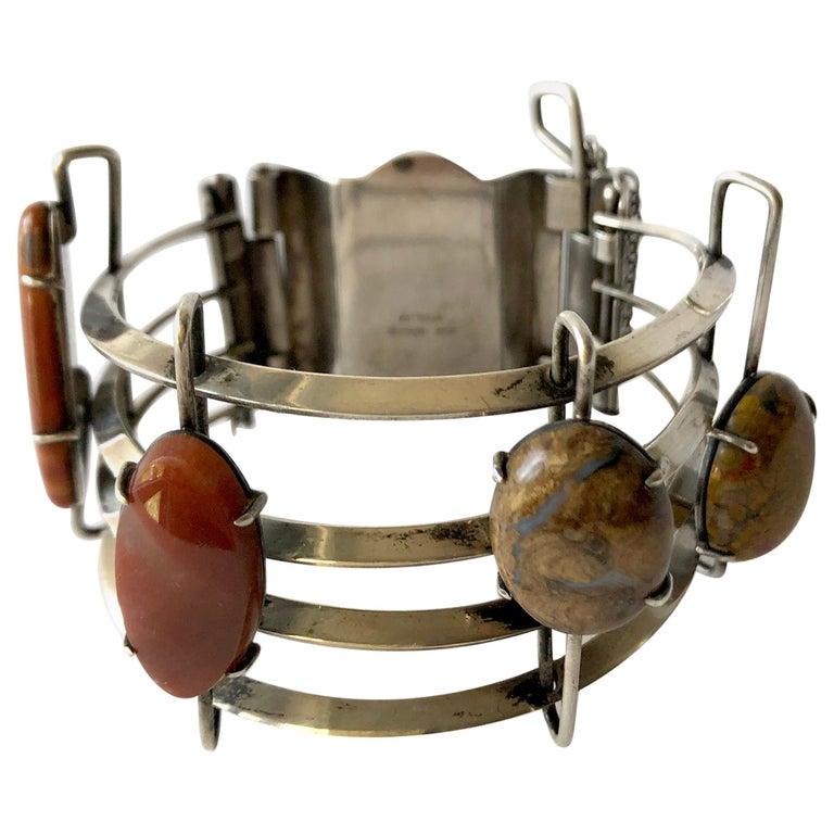 A + H Mackie Sterling Silver Natural Gemstone Bracelet For Sale