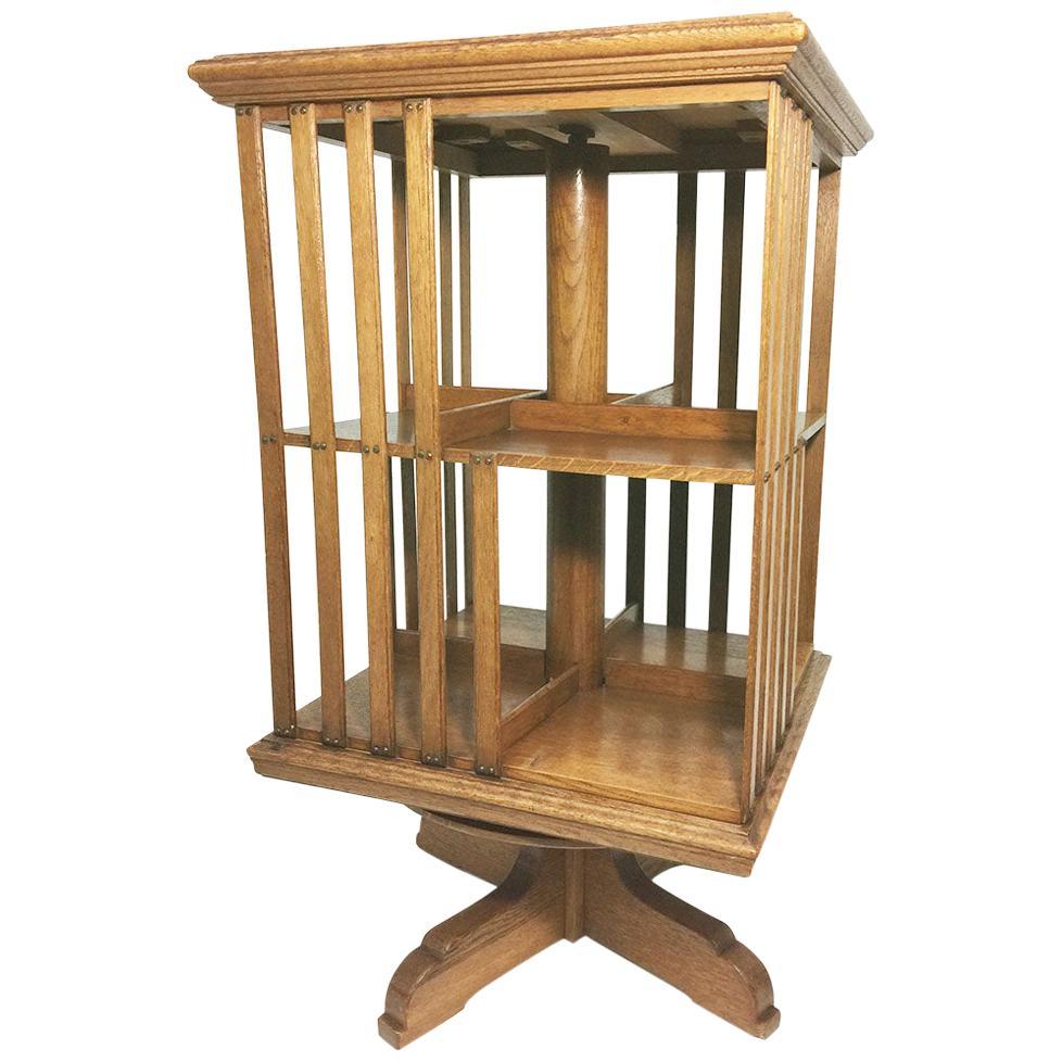 A H. Pander & Zn. Oak Revolving Bookcase, Netherlands, circa 1900