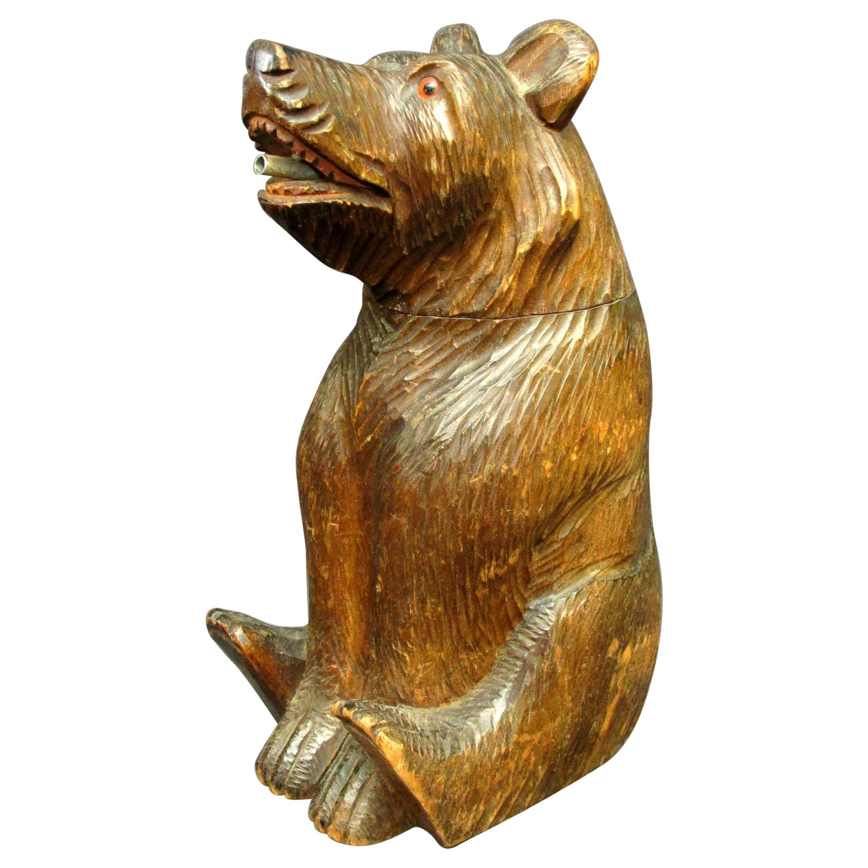 Hand Carved Black Forest Bear Spirit Decanter, Swiss Circa 1920