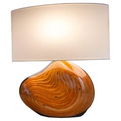 A hand carved & lacquered organic sculptural lamp by Christian Wallis, signed