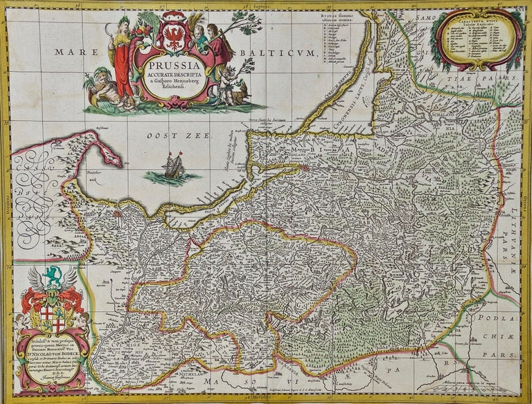 An attractive hand-colored copperplate engraved 17th century map of Prussia entitled