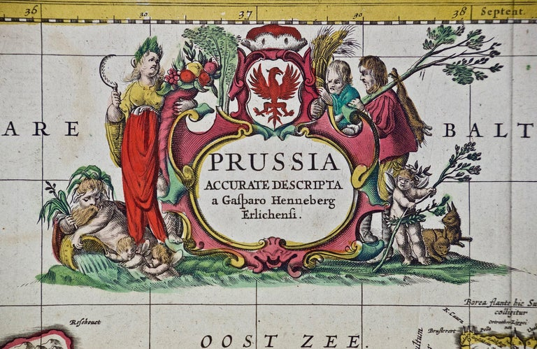 Dutch Hand Colored 17th Century Janssonius Map of Prussia Poland, N. Germany, Etc For Sale