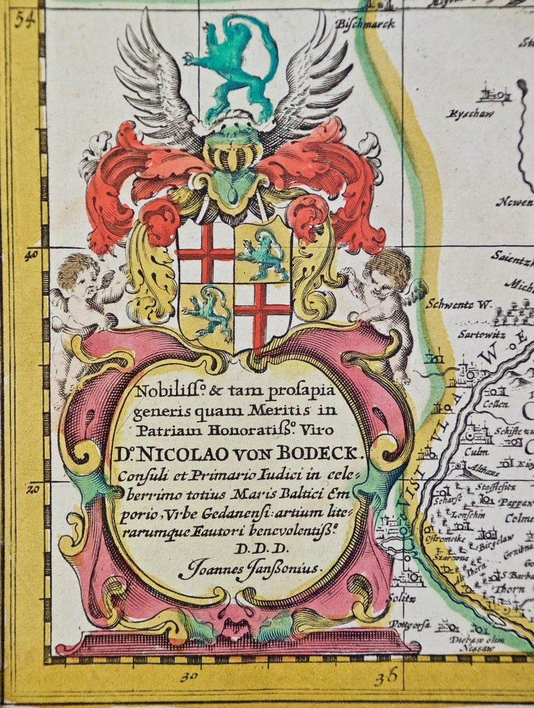 Engraved Hand Colored 17th Century Janssonius Map of Prussia Poland, N. Germany, Etc For Sale